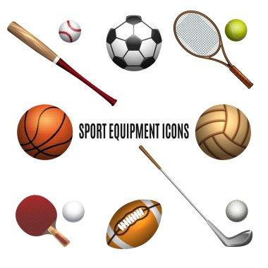 Sport equipment icons set