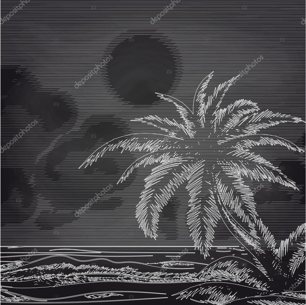 Chalk palm tree and ocean sketch