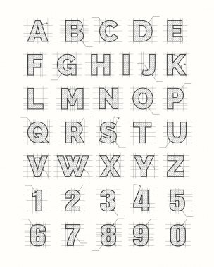 Drafting paper alphabet