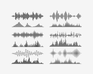 Vector signal waves. Radio frequency waves or sound analog and digital waves forms stock vector