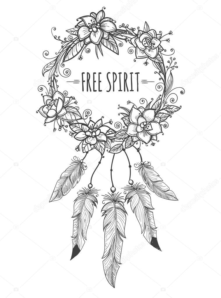 Boho indian decorative wreath sketch