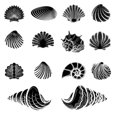 Black sea shells silhouettes collection