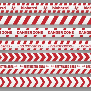 Danger tapes red and white collection