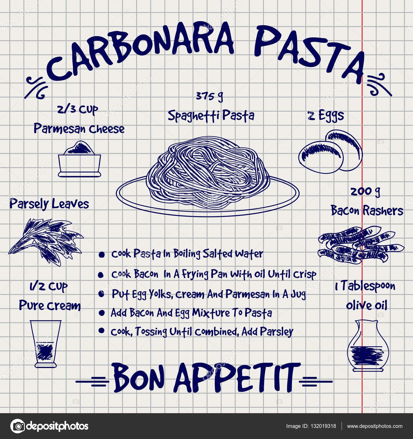 Libro de cocina diseño receta carbonara pasta del bosquejo — Archivo ...