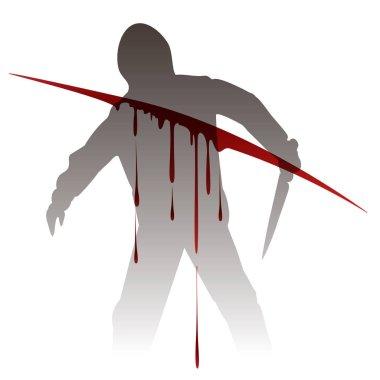 Killer silhouette against blood splashes