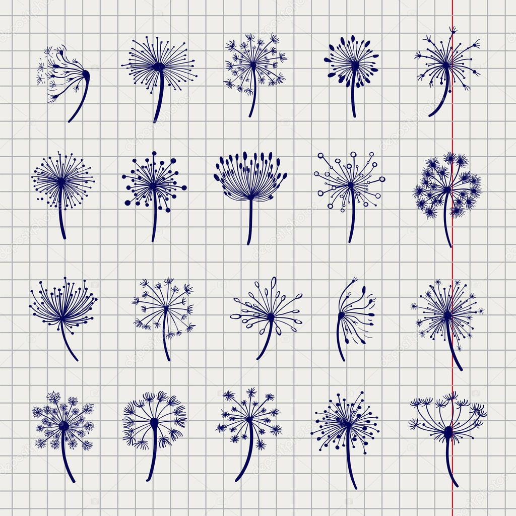 Ball pen dandelion sketch collection