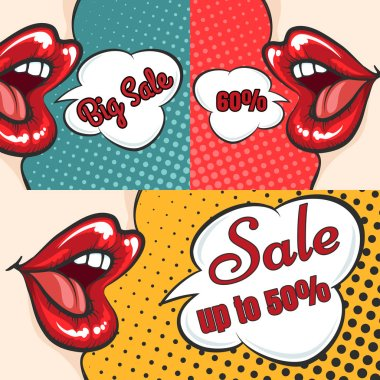 Woman lips pop art sale banners