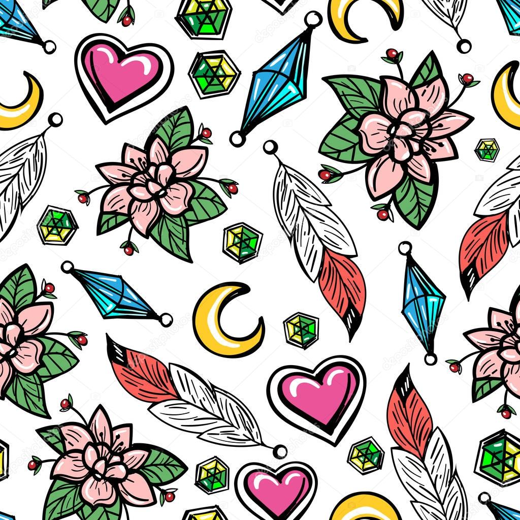 Seamless pattern with flowers and feathers