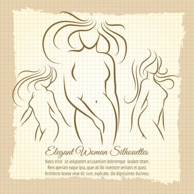 Woman silhouettes set on vintage background