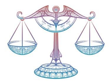 Justice scales, Zodiac Libra zentangle sign