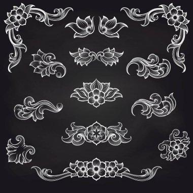 Baroque engraving leaf scroll design