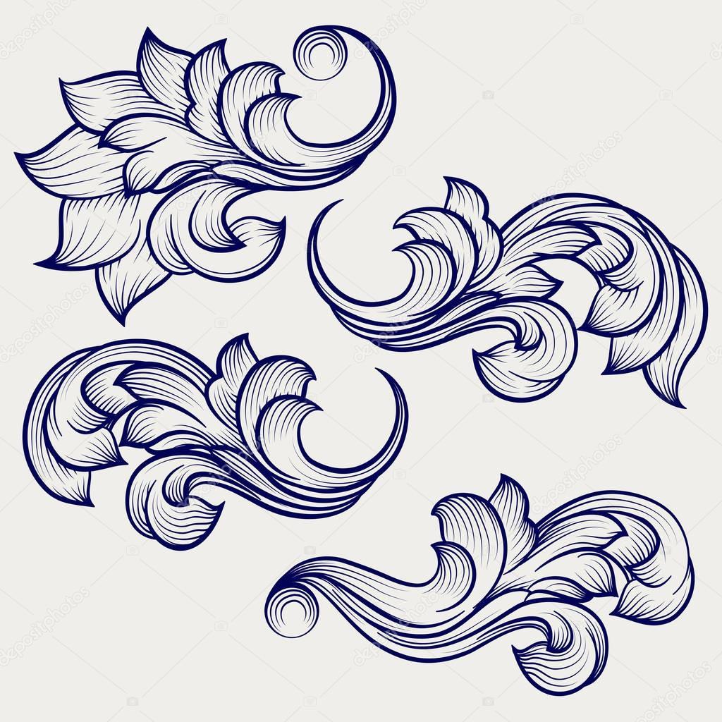 Floral baroque engraving elements