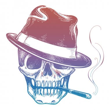 Gangster colorful skull with cigarette sketch