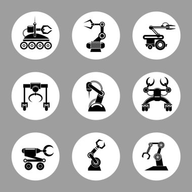 Monochrome technology factory robot icons design