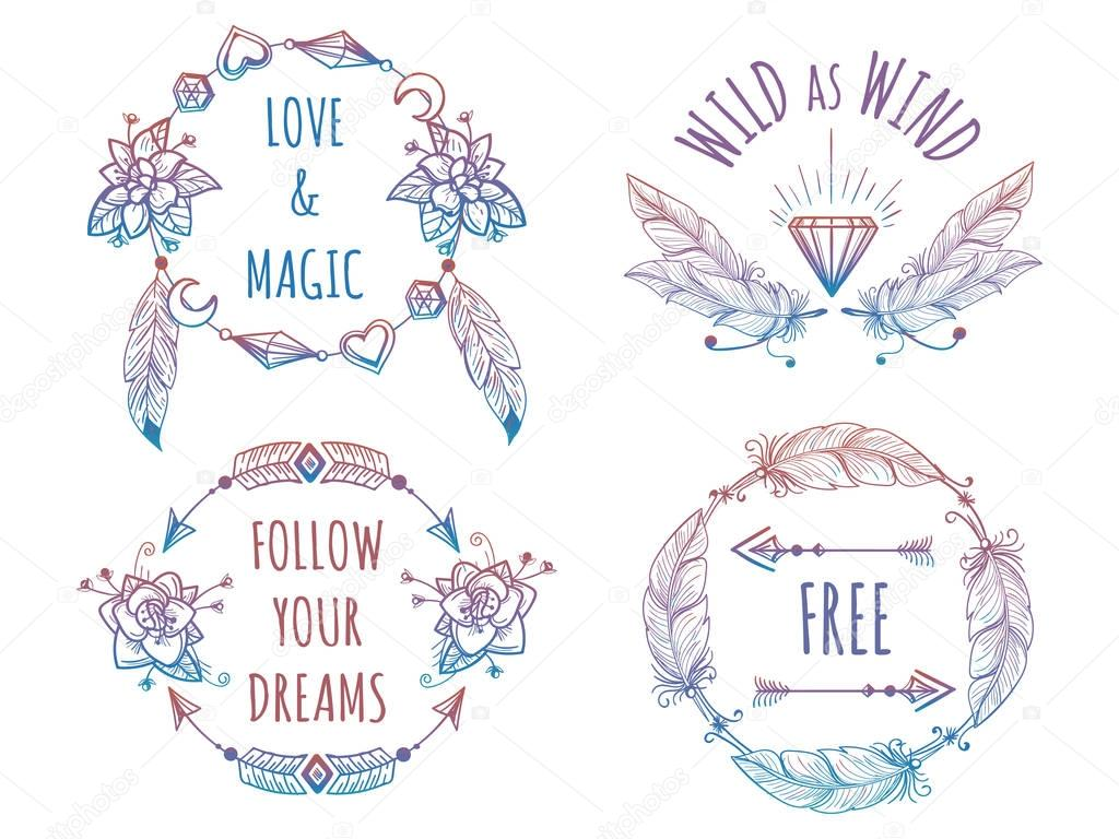 Colorful bohemian banners with lettering