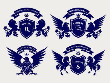 Heraldric royal crests logo set