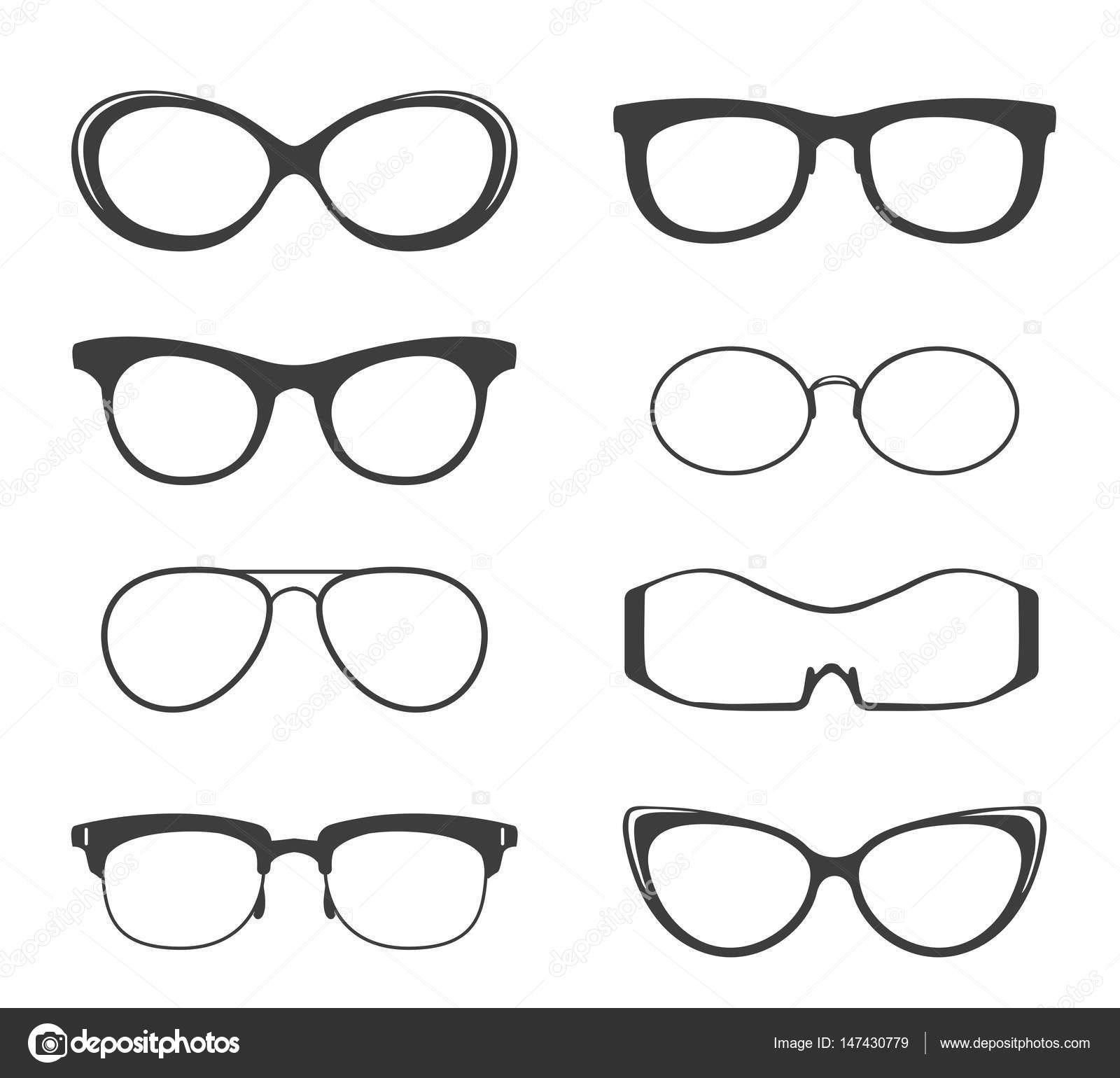 Conjunto de silueta de gafas negras — Vector de stock © vectortatu ...