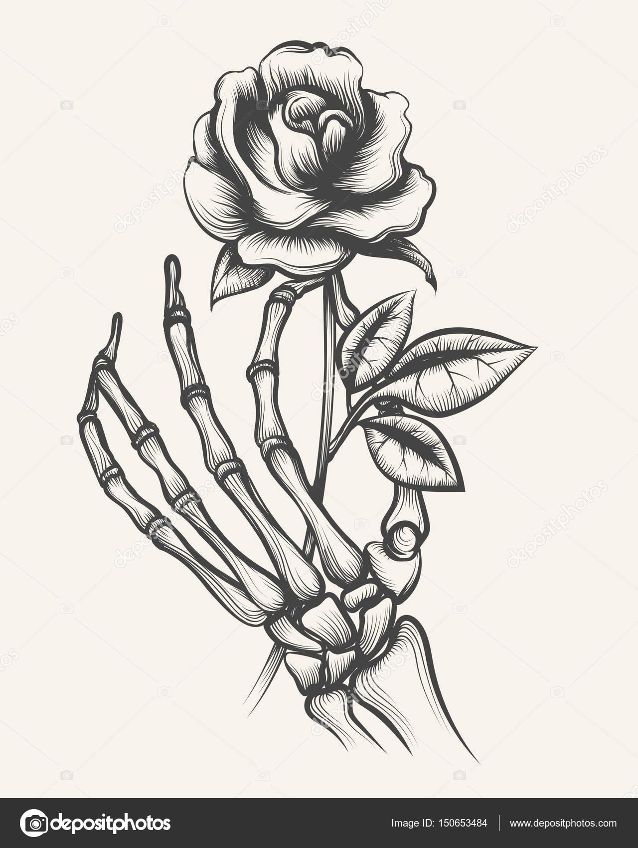 Manos de esqueleto con flor color de rosa — Archivo Imágenes ...