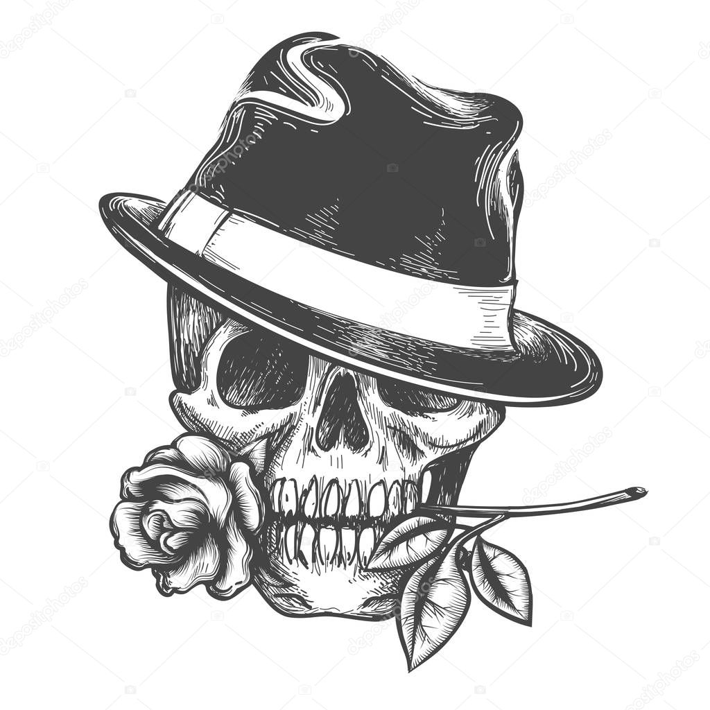 Skull in hat with rose flower