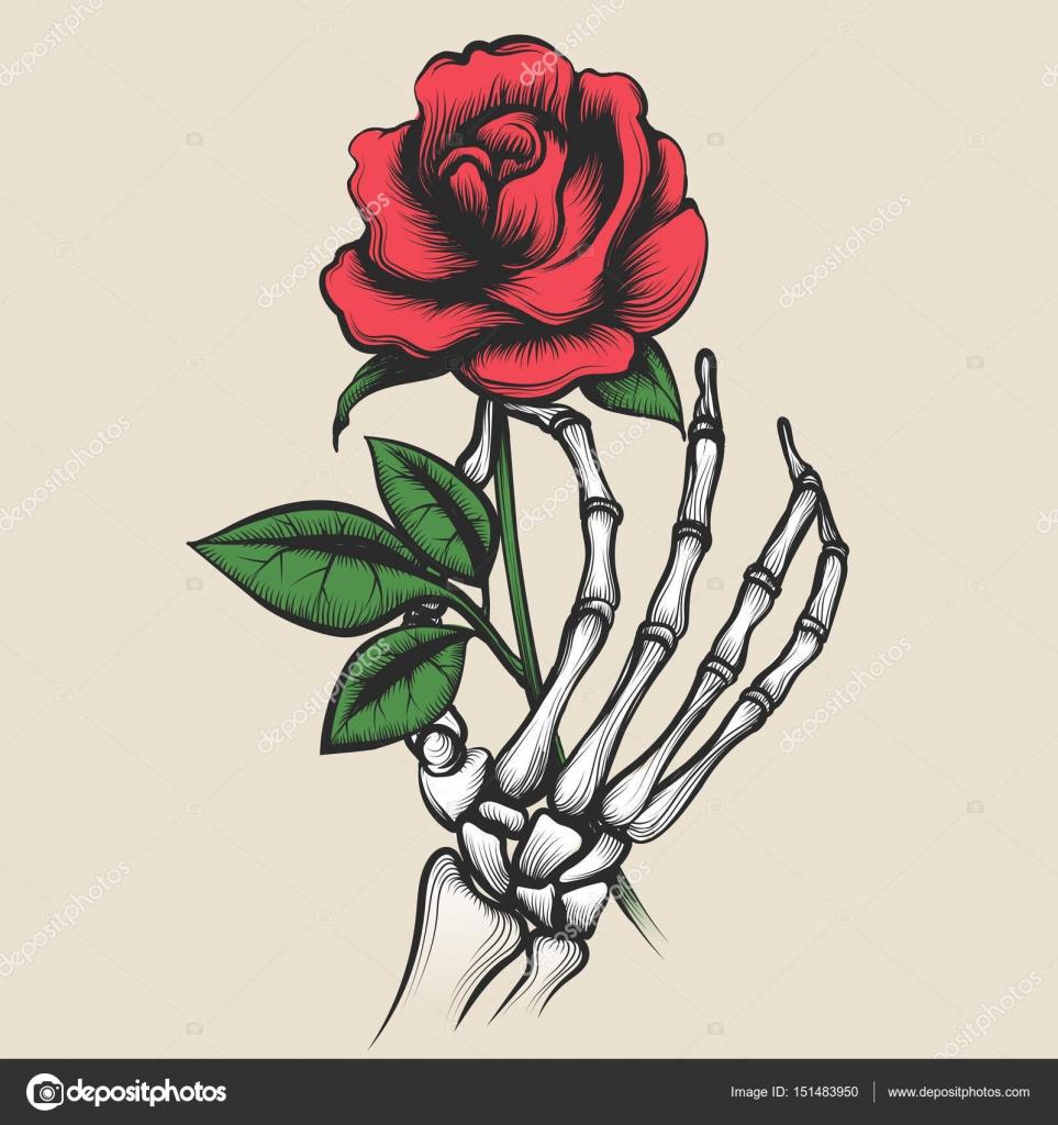 Mano esqueleto con estilo tatuaje color de rosa — Vector de stock ...
