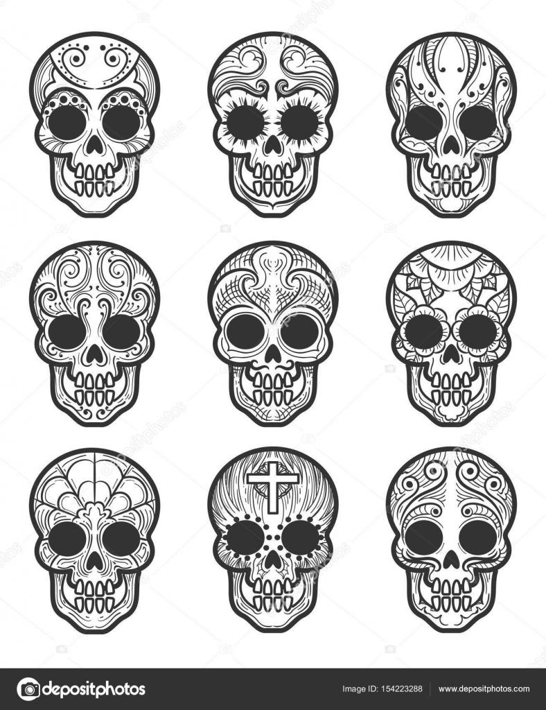 Conjunto de tatuaje de cráneo calavera o azúcar — Vector de stock ...