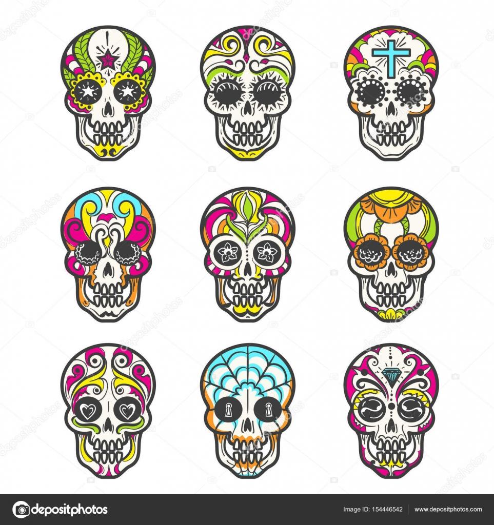 Azúcar coloreado cráneo conjunto de iconos — Vector de stock ...