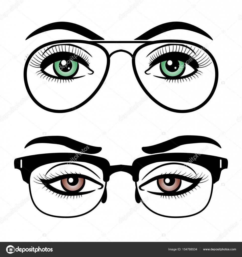 Ojos de mujer con gafas — Archivo Imágenes Vectoriales © vectortatu ...
