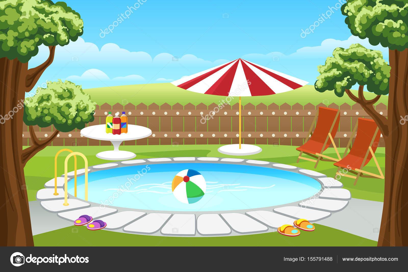 Hinterhof Pool Mit Zaun Und Sonnenschirm Stockvektor