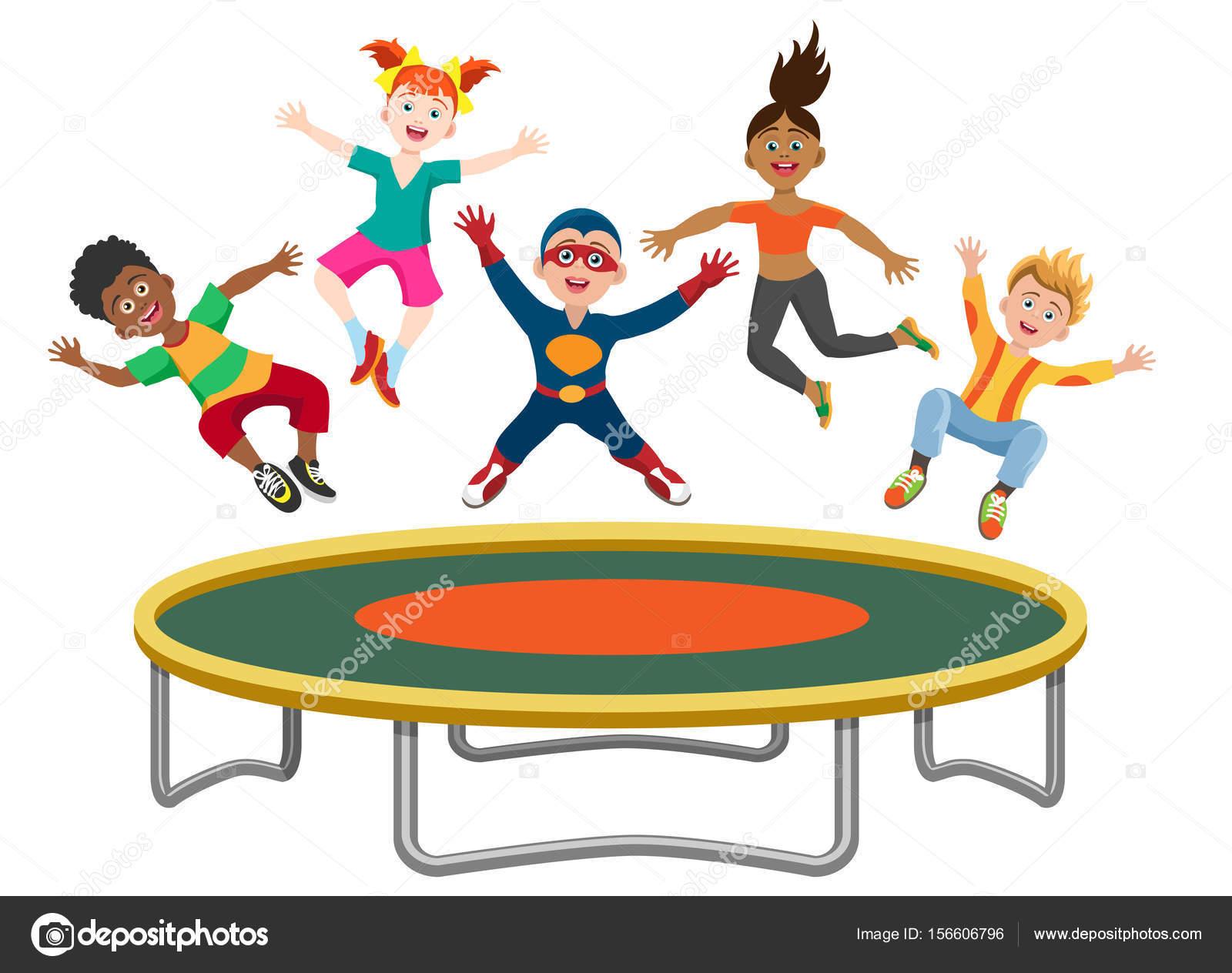 energetische kinder auf trampolin springen stockvektor vectortatu 156606796. Black Bedroom Furniture Sets. Home Design Ideas
