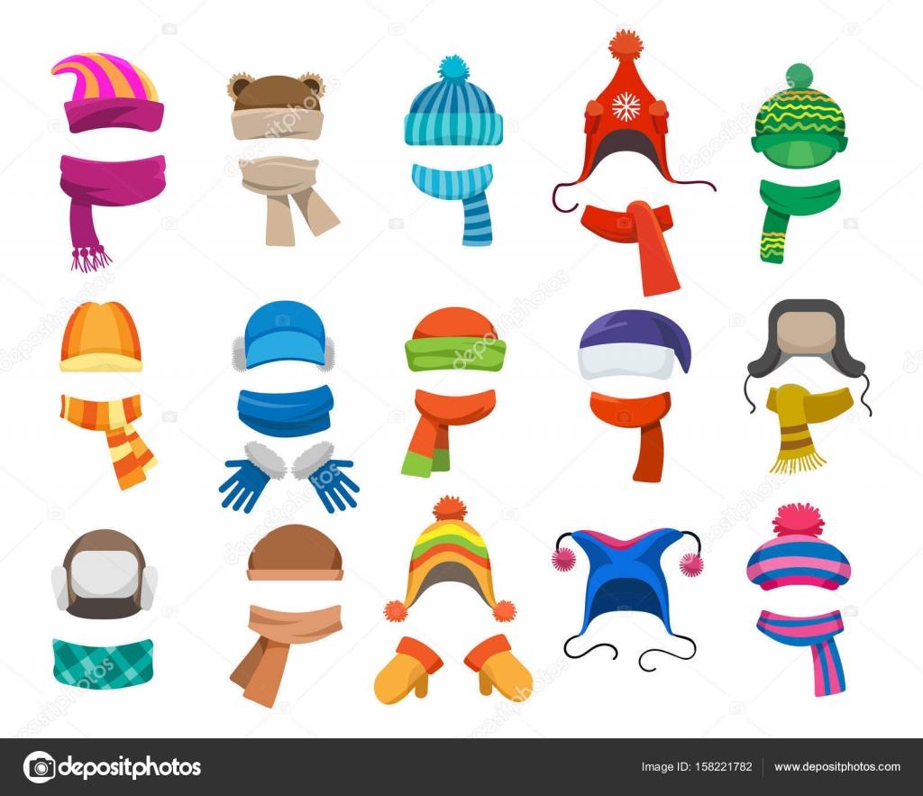 Invierno u otoño colección de sombreros — Vector de stock ...
