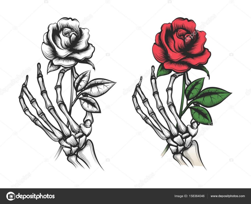 Rosa de la flor en la mano de esqueleto humano — Archivo Imágenes ...