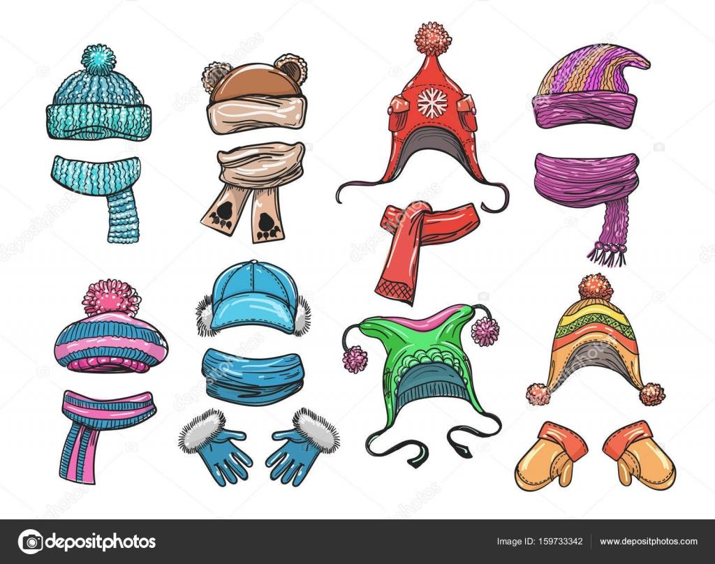 Зимняя одежда для детей — Векторное изображение ...