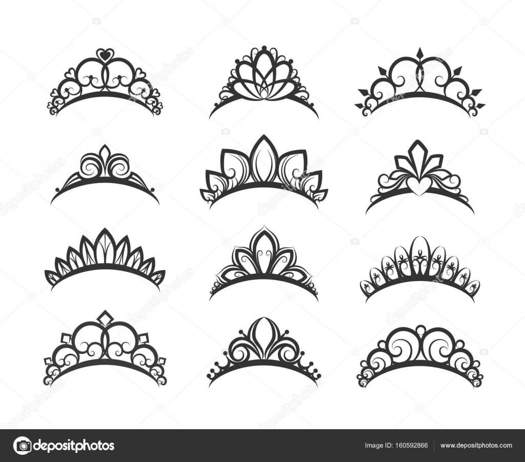 美しい女王ティアラ セット ストックベクター Vectortatu 160592866