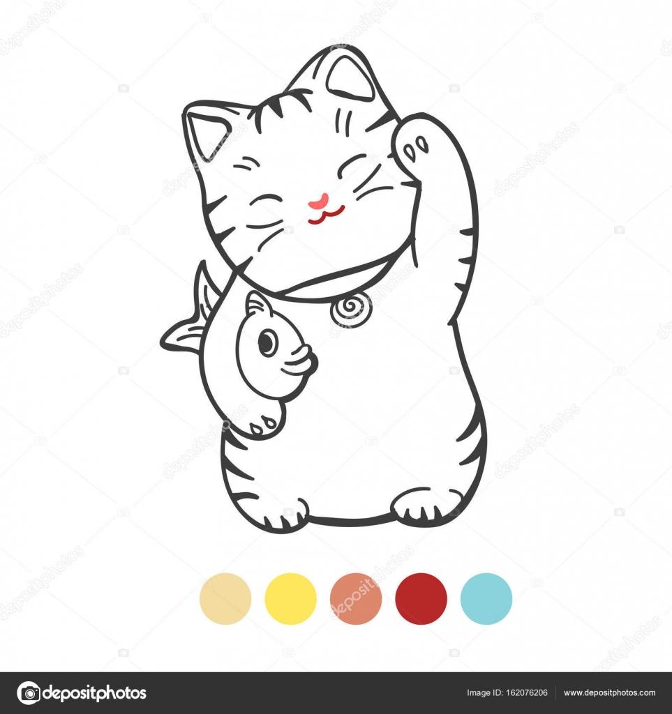 Süße Kätzchen mit Fisch Malvorlagen — Stockvektor © vectortatu ...