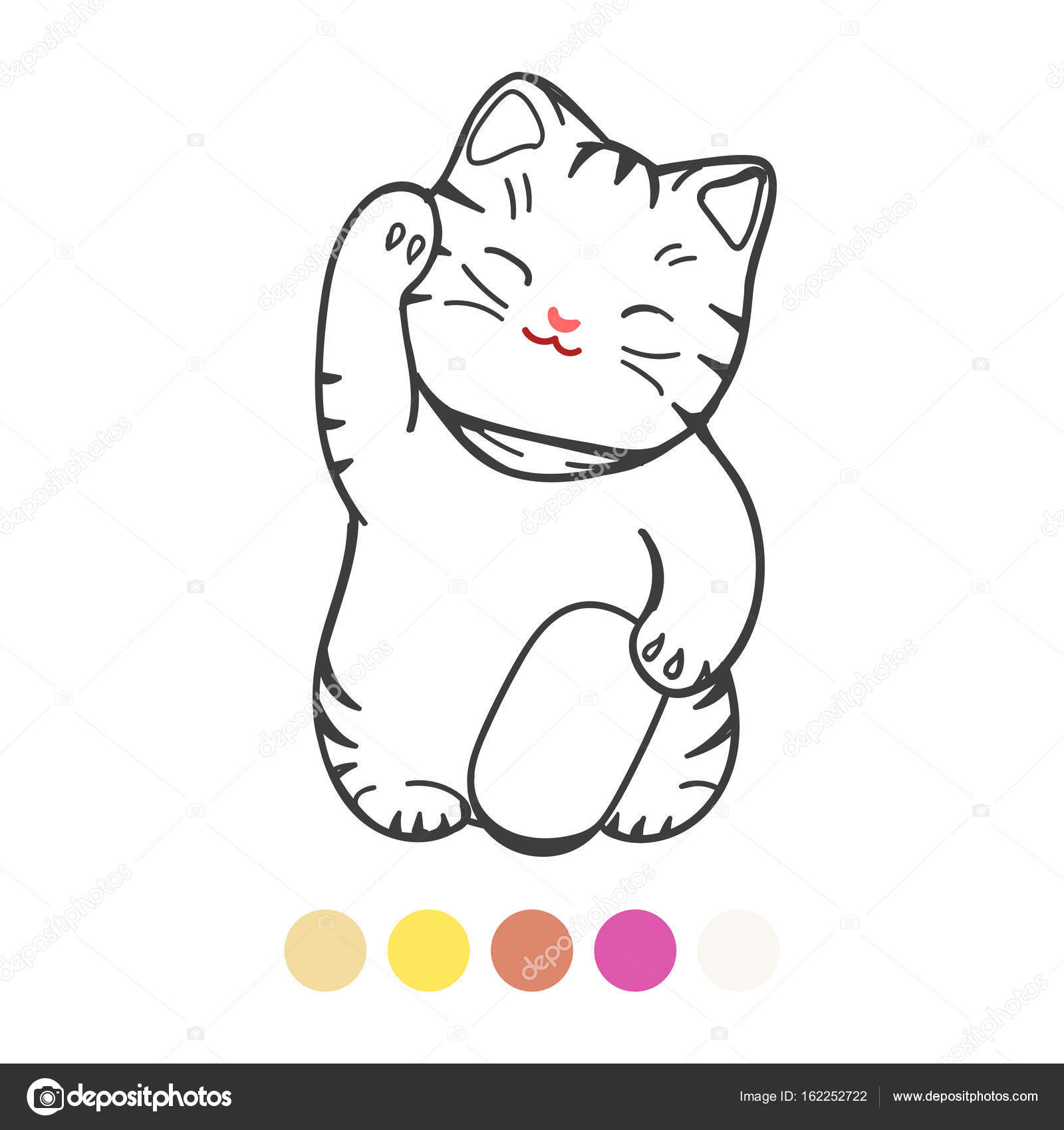 Cute Kitten With Toy Coloring Page Stock Vector C Vectortatu