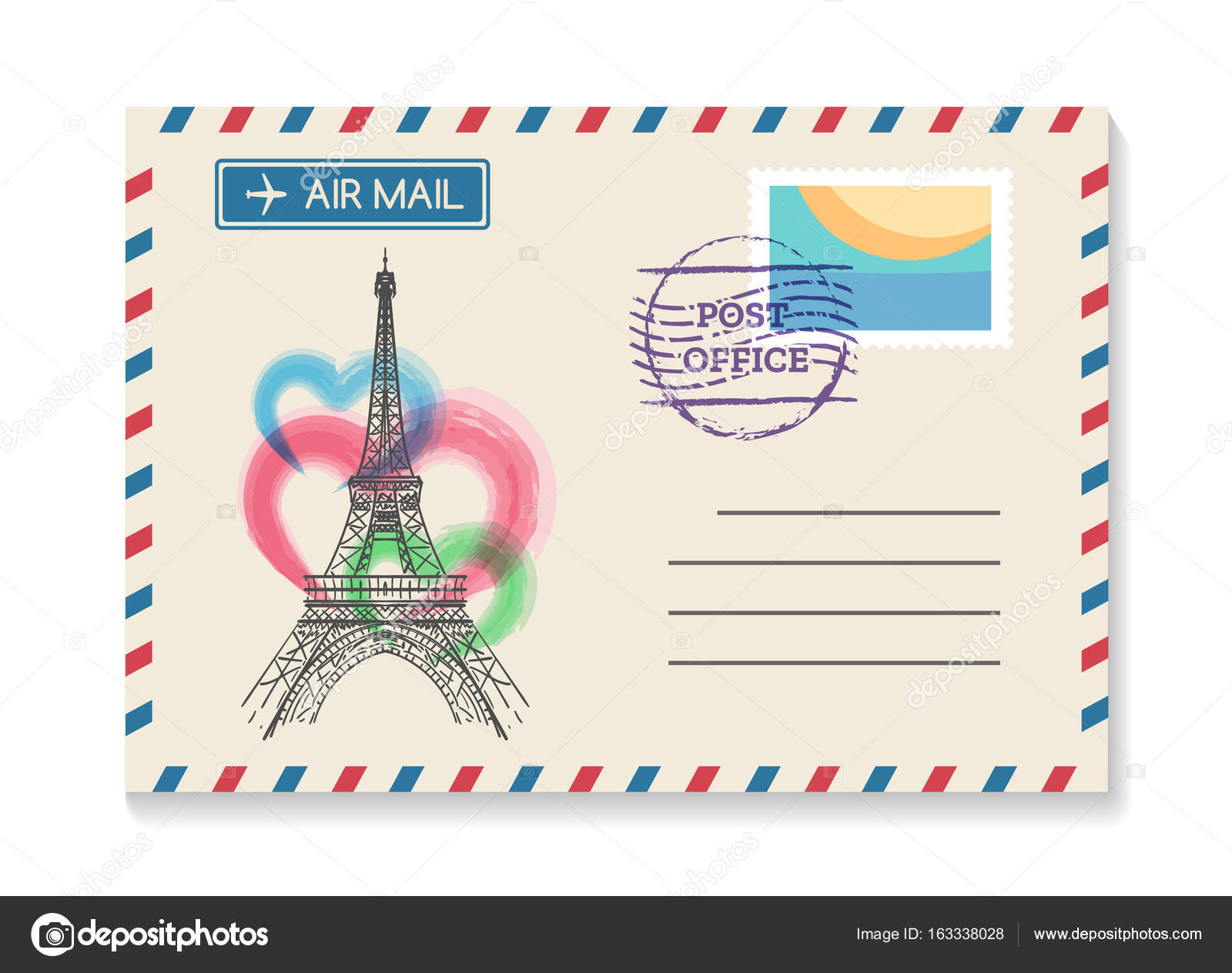 Retro paris postal invitation stock vector vectortatu 163338028 retro paris postal invitation vector vintage old wedding air mail postcard or love letter from france with eiffel tower vector by vectortatu stopboris Choice Image