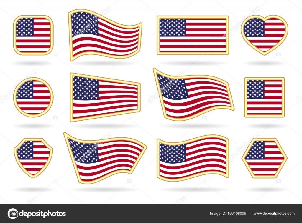 45b0f328884b Usa flag badges set — Stock Vector © vectortatu  166408006