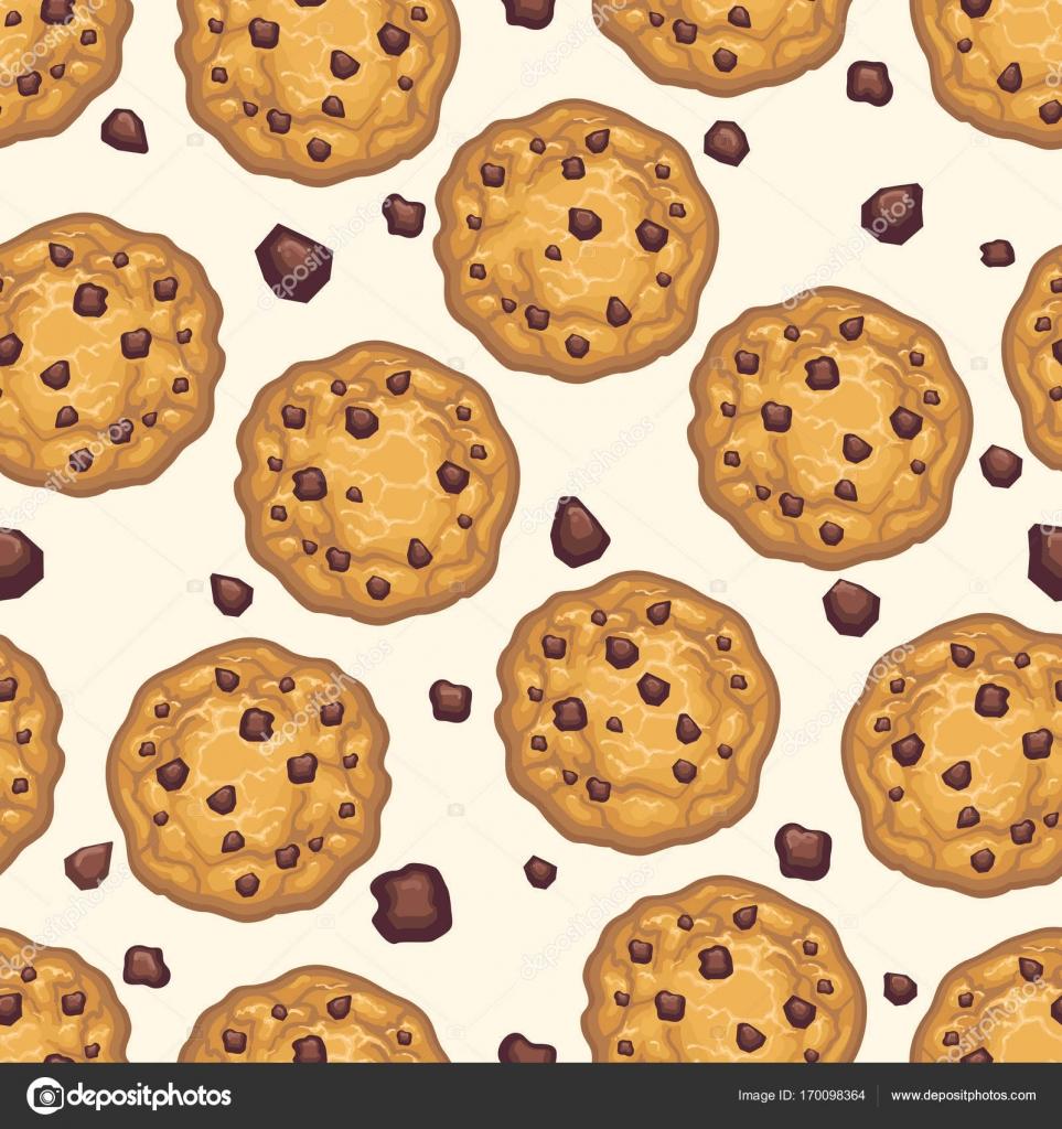 Choco Chip Cookie Seamless Pattern Stock Vector C Vectortatu
