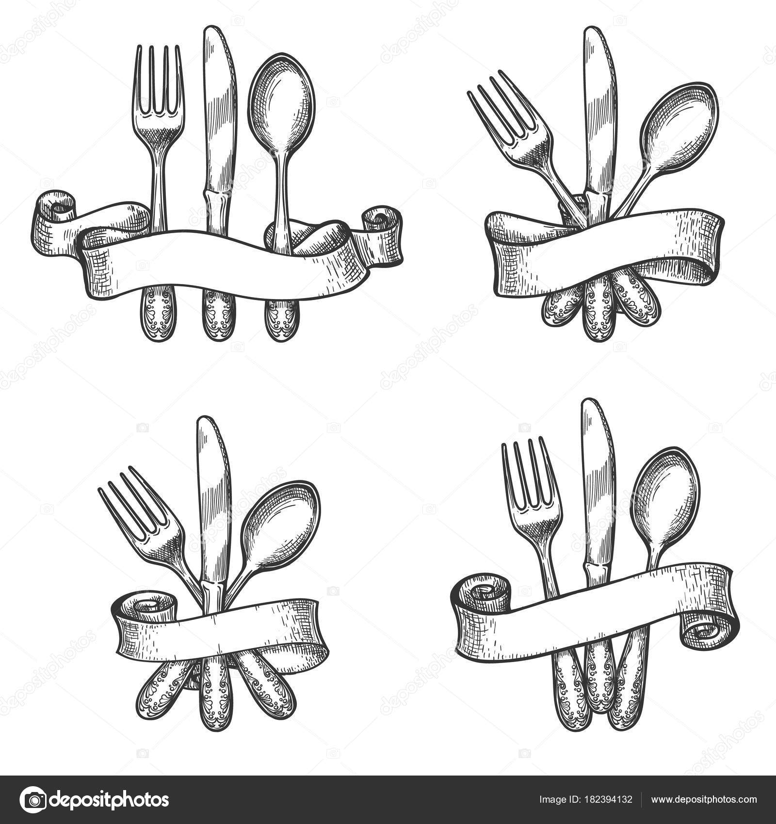 Vintage dinner table silverware set — Stock Vector © vectortatu ...