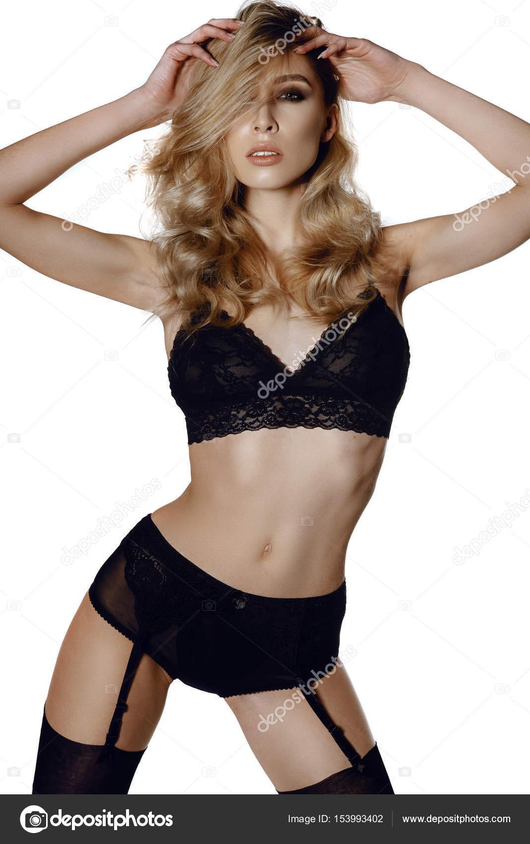 hermosa mujer en lencería negra — Foto de stock © irinanevaa.gmail ... e759983d208f