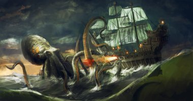 sea monster, giant octopus attacking ship