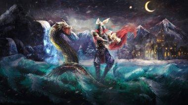 Thor fighting serpent, Norse mythology