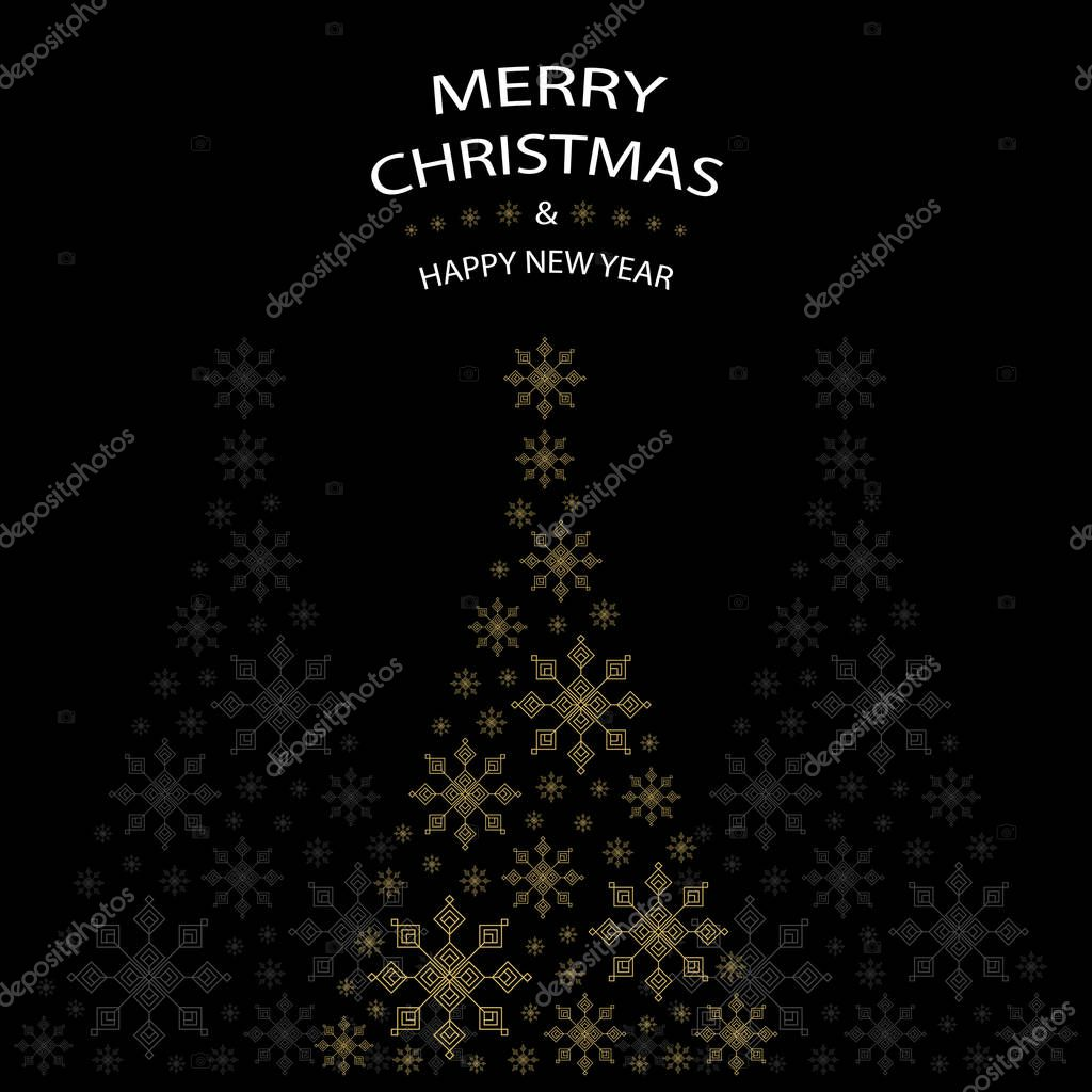 Christmas Tree Shaped From Gold Snowflakes On Black Background With White Text Graphics Merry And