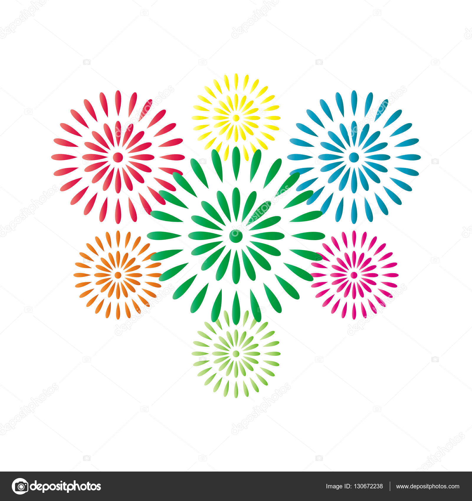 fireworks colorful isolated on white background beautiful design for new year anniversary celebration and festival vector illustration vector by