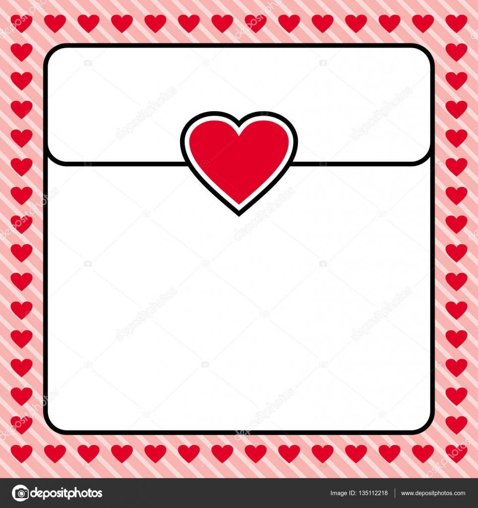 Frame Border Red Heart Design For Valentine Love Letter Wedding