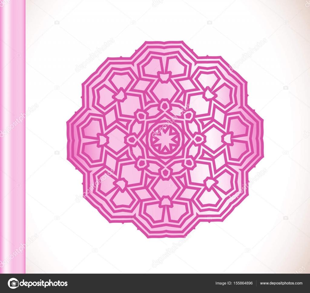 Ornamental Round Lace Pink Flower Stock Vector Lesichkalll27