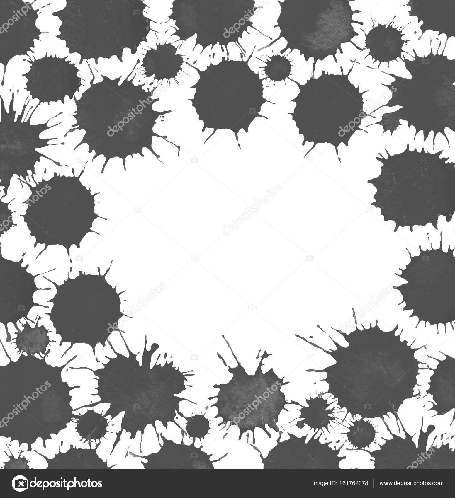 Weißer Kreis Rahmen mit Sprühfarbe schwarze Flecken — Stockfoto ...