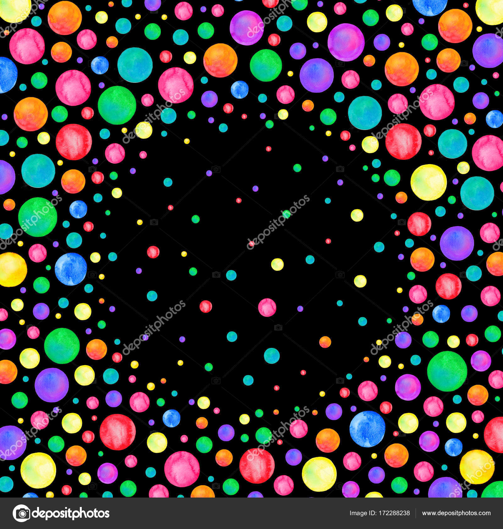 Confetti arco iris Acuarela sobre fondo negro. Marco de puntos ...