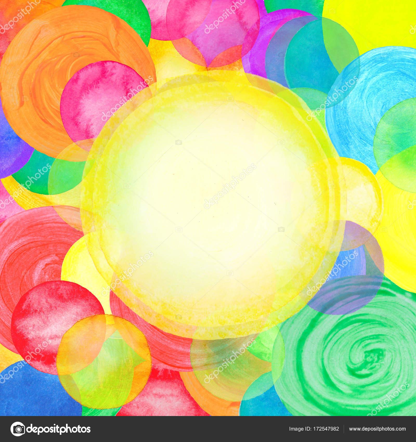 Colores acuarela puntos aislados. Marco de frontera círculo con ...
