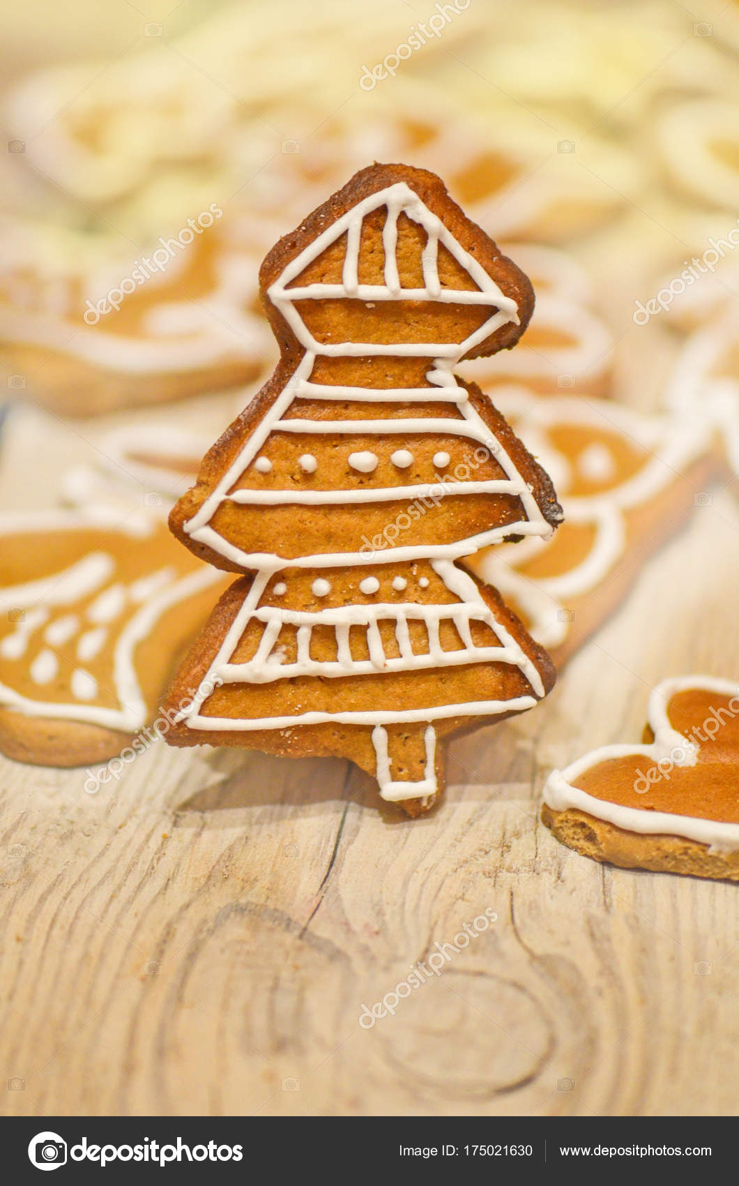 Christmas Tree Gingerbread Reindeer Cookies Stock Photo